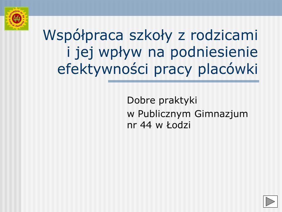 Współpraca szkoły z rodzicami i jej wpływ na podniesienie efektywności pracy placówki Dobre praktyki w Publicznym Gimnazjum nr 44 w Łodzi