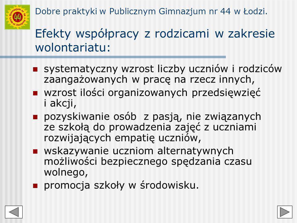 Dobre praktyki w Publicznym Gimnazjum nr 44 w Łodzi. Efekty współpracy z rodzicami w zakresie wolontariatu: systematyczny wzrost liczby uczniów i rodz
