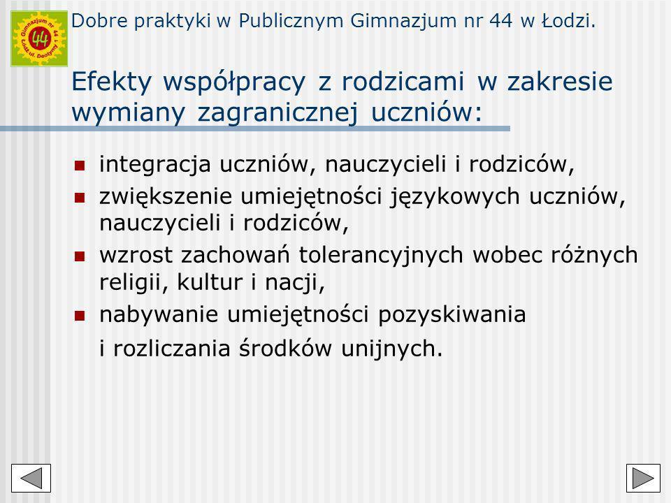 Dobre praktyki w Publicznym Gimnazjum nr 44 w Łodzi. Efekty współpracy z rodzicami w zakresie wymiany zagranicznej uczniów: integracja uczniów, nauczy