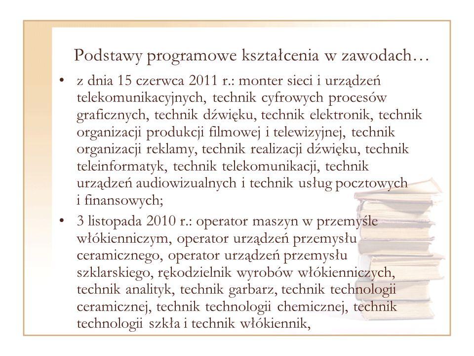 Podstawy programowe kształcenia w zawodach… z dnia 15 czerwca 2011 r.: monter sieci i urządzeń telekomunikacyjnych, technik cyfrowych procesów graficznych, technik dźwięku, technik elektronik, technik organizacji produkcji filmowej i telewizyjnej, technik organizacji reklamy, technik realizacji dźwięku, technik teleinformatyk, technik telekomunikacji, technik urządzeń audiowizualnych i technik usług pocztowych i finansowych; 3 listopada 2010 r.: operator maszyn w przemyśle włókienniczym, operator urządzeń przemysłu ceramicznego, operator urządzeń przemysłu szklarskiego, rękodzielnik wyrobów włókienniczych, technik analityk, technik garbarz, technik technologii ceramicznej, technik technologii chemicznej, technik technologii szkła i technik włókiennik,