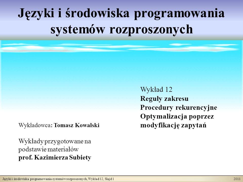 Języki i środowiska programowania systemów rozproszonych, Wykład 12, Slajd 12 2011 Modyfikacja zapytań = makro-substytucja Metoda modyfikacji zapytań polega na tym, że definicję funkcji traktuje się jako makro-definicję.