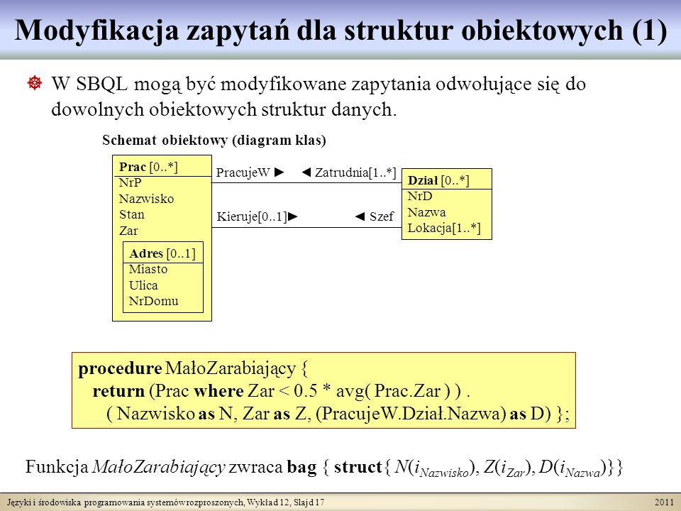 Języki i środowiska programowania systemów rozproszonych, Wykład 12, Slajd 17 2011 Modyfikacja zapytań dla struktur obiektowych (1) W SBQL mogą być modyfikowane zapytania odwołujące się do dowolnych obiektowych struktur danych.