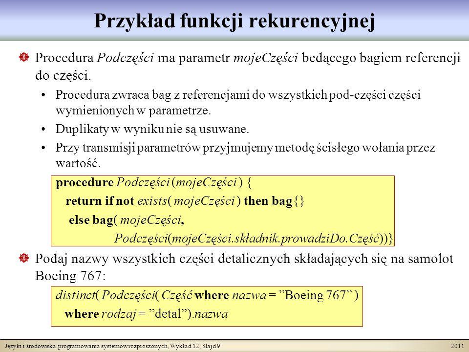 Języki i środowiska programowania systemów rozproszonych, Wykład 12, Slajd 9 2011 Przykład funkcji rekurencyjnej Procedura Podczęści ma parametr mojeCzęści bedącego bagiem referencji do części.