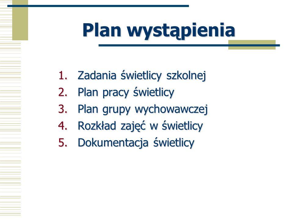Plan wystąpienia 1.Zadania świetlicy szkolnej 2.Plan pracy świetlicy 3.Plan grupy wychowawczej 4.Rozkład zajęć w świetlicy 5.Dokumentacja świetlicy