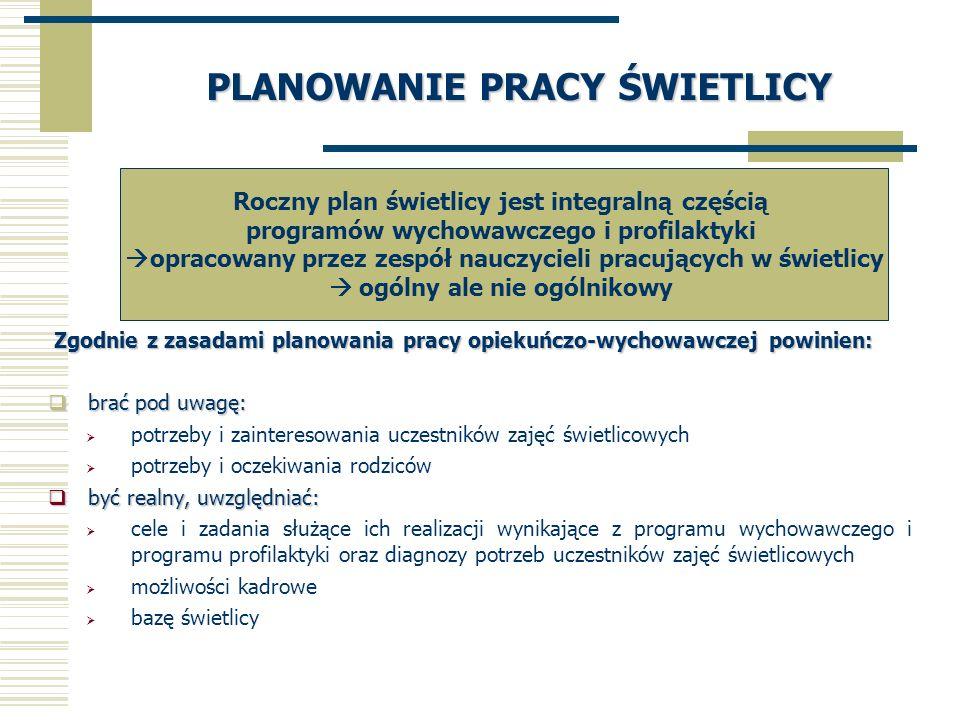 PLANOWANIE PRACY ŚWIETLICY Zgodnie z zasadami planowania pracy opiekuńczo-wychowawczej powinien: Zgodnie z zasadami planowania pracy opiekuńczo-wychow