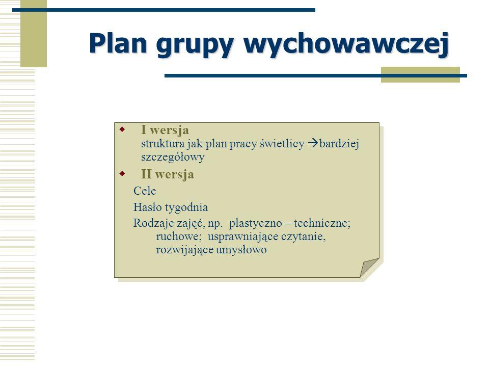 Plan grupy wychowawczej I wersja struktura jak plan pracy świetlicy bardziej szczegółowy II wersja Cele Hasło tygodnia Rodzaje zajęć, np. plastyczno –