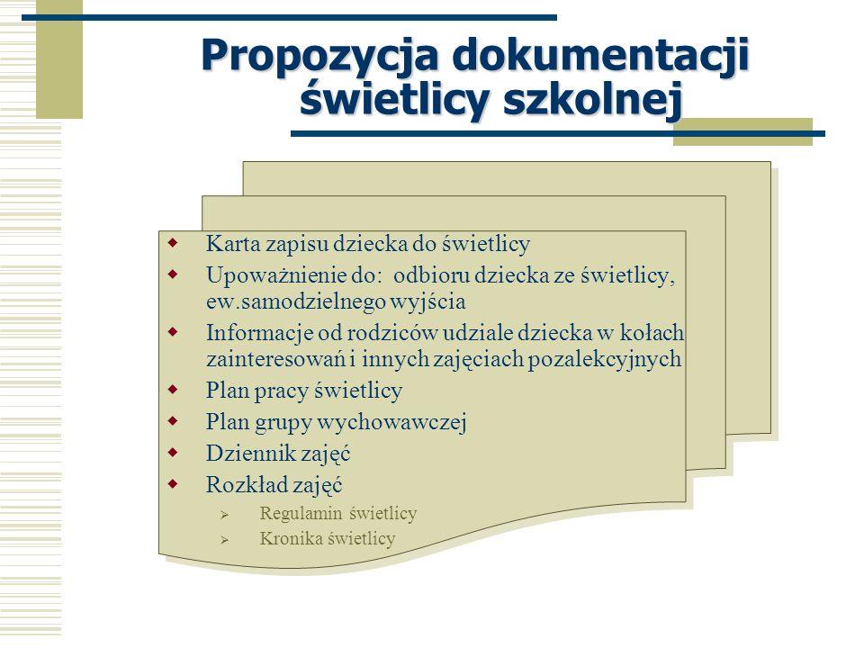 Propozycja dokumentacji świetlicy szkolnej Karta zapisu dziecka do świetlicy Upoważnienie do: odbioru dziecka ze świetlicy, ew.samodzielnego wyjścia I