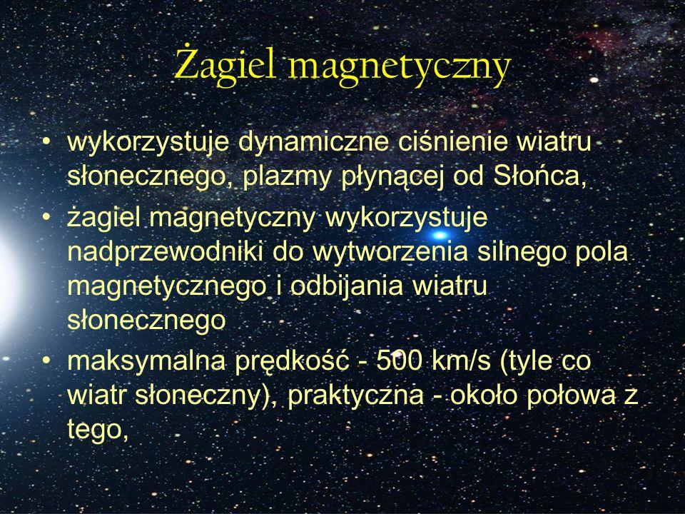 Ż agiel magnetyczny wykorzystuje dynamiczne ciśnienie wiatru słonecznego, plazmy płynącej od Słońca, żagiel magnetyczny wykorzystuje nadprzewodniki do