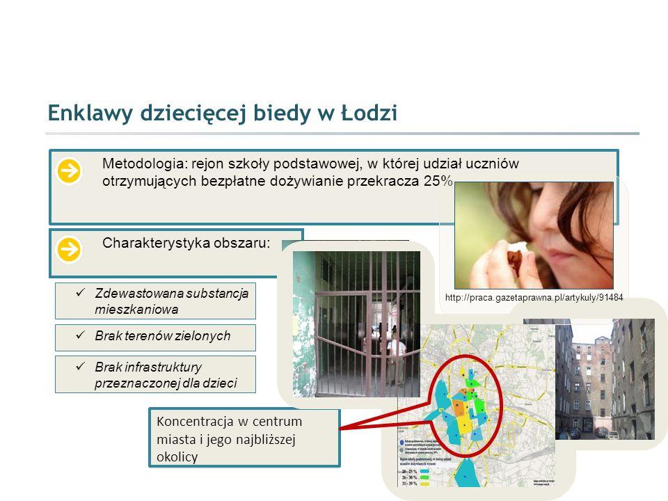 Enklawy dziecięcej biedy w Łodzi Metodologia: rejon szkoły podstawowej, w której udział uczniów otrzymujących bezpłatne dożywianie przekracza 25% Char