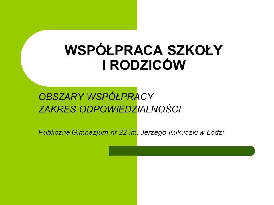 WSPÓŁPRACA SZKOŁY I RODZICÓW OBSZARY WSPÓŁPRACY ZAKRES ODPOWIEDZIALNOŚCI Publiczne Gimnazjum nr 22 im. Jerzego Kukuczki w Łodzi