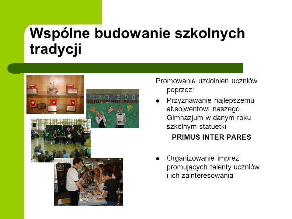Wspólne budowanie szkolnych tradycji Promowanie uzdolnień uczniów poprzez: Przyznawanie najlepszemu absolwentowi naszego Gimnazjum w danym roku szkoln
