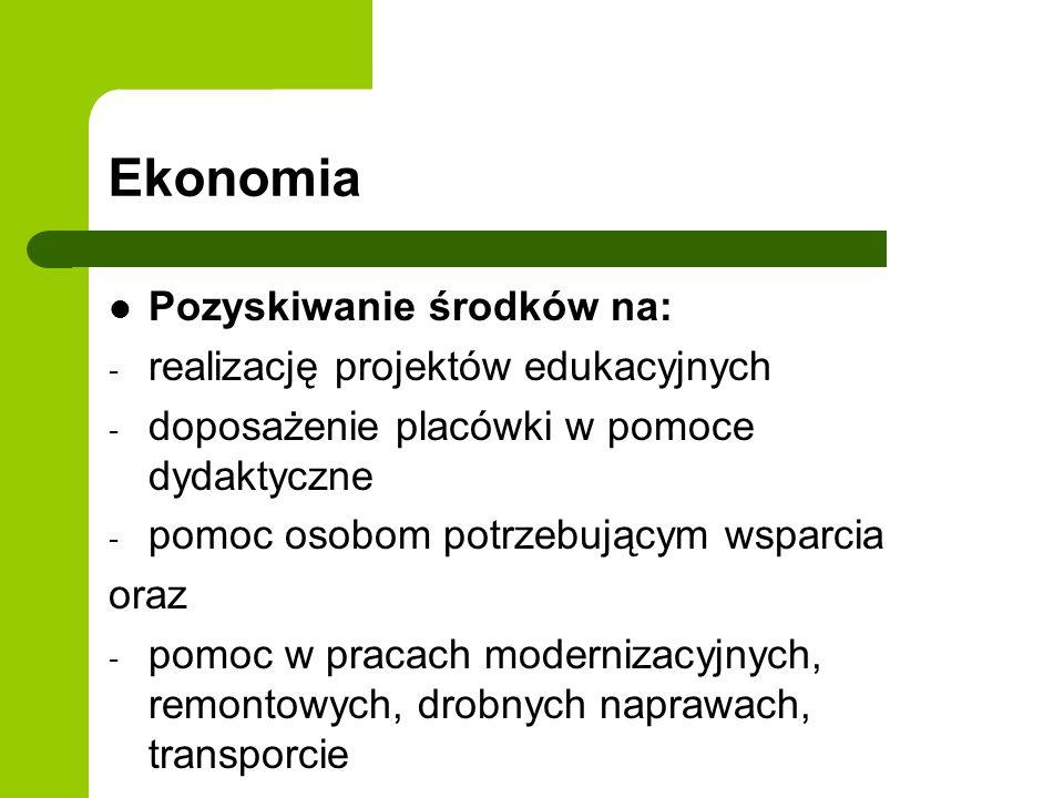 Ekonomia Pozyskiwanie środków na: - realizację projektów edukacyjnych - doposażenie placówki w pomoce dydaktyczne - pomoc osobom potrzebującym wsparci