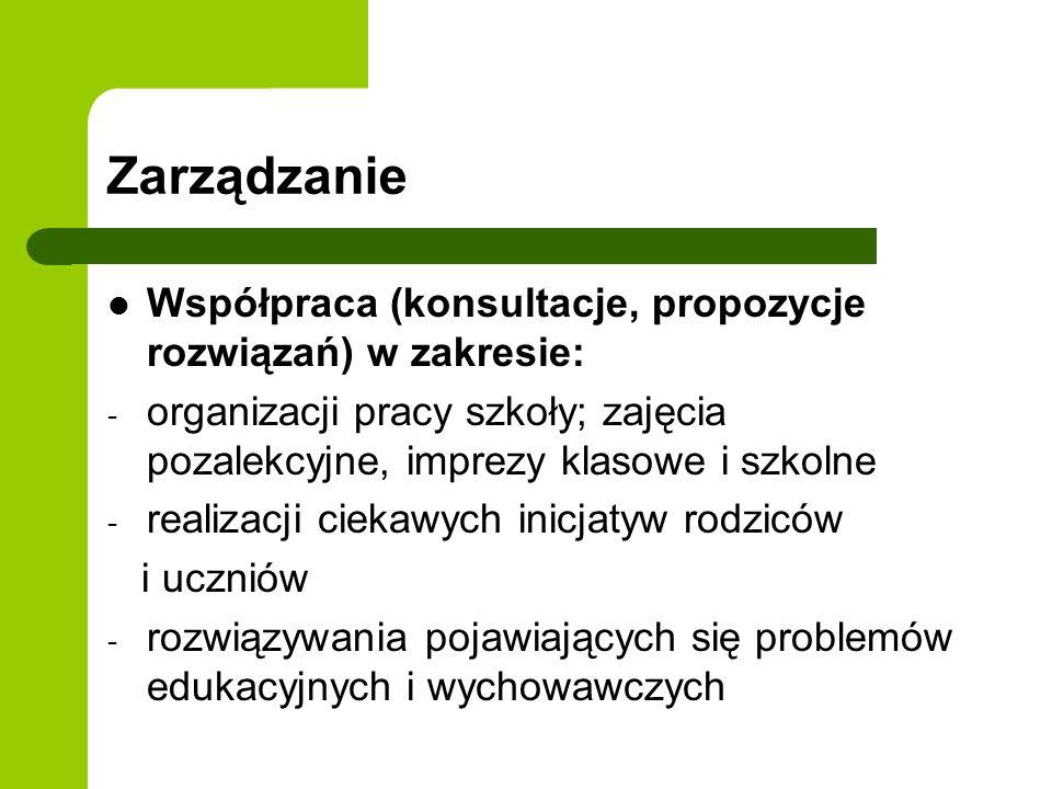 Zarządzanie Współpraca (konsultacje, propozycje rozwiązań) w zakresie: - organizacji pracy szkoły; zajęcia pozalekcyjne, imprezy klasowe i szkolne - r