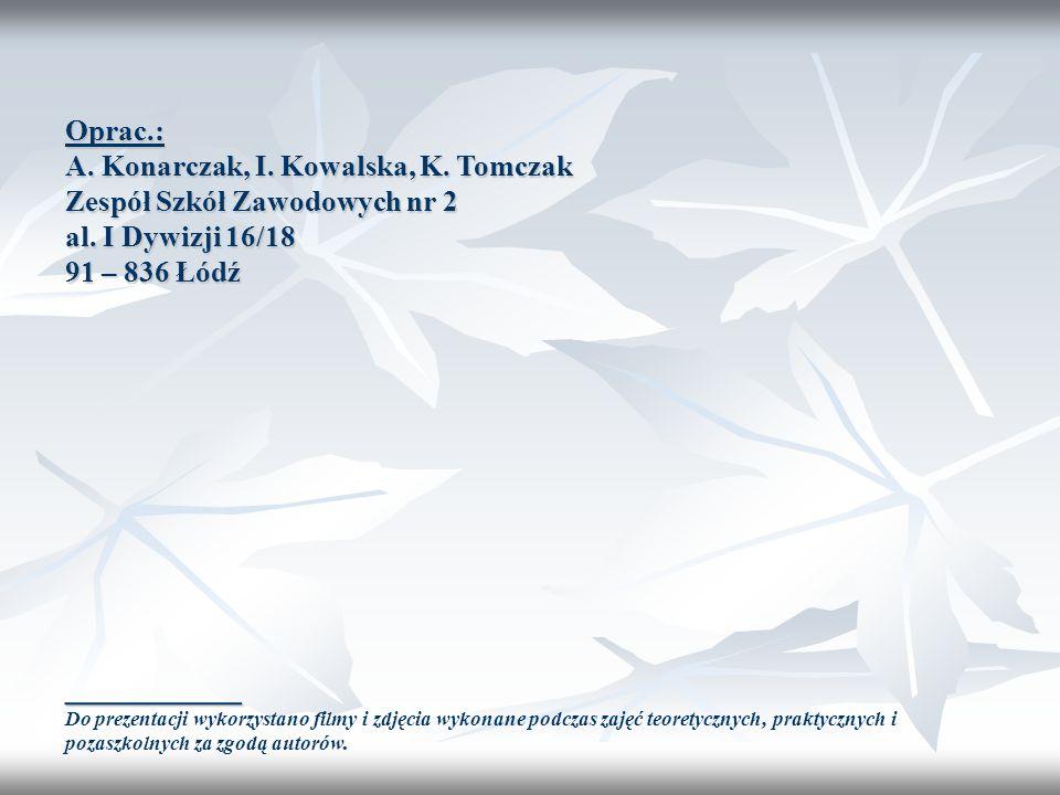 Oprac.: A. Konarczak, I. Kowalska, K. Tomczak Zespół Szkół Zawodowych nr 2 al. I Dywizji 16/18 91 – 836 Łódź __________ Do prezentacji wykorzystano fi
