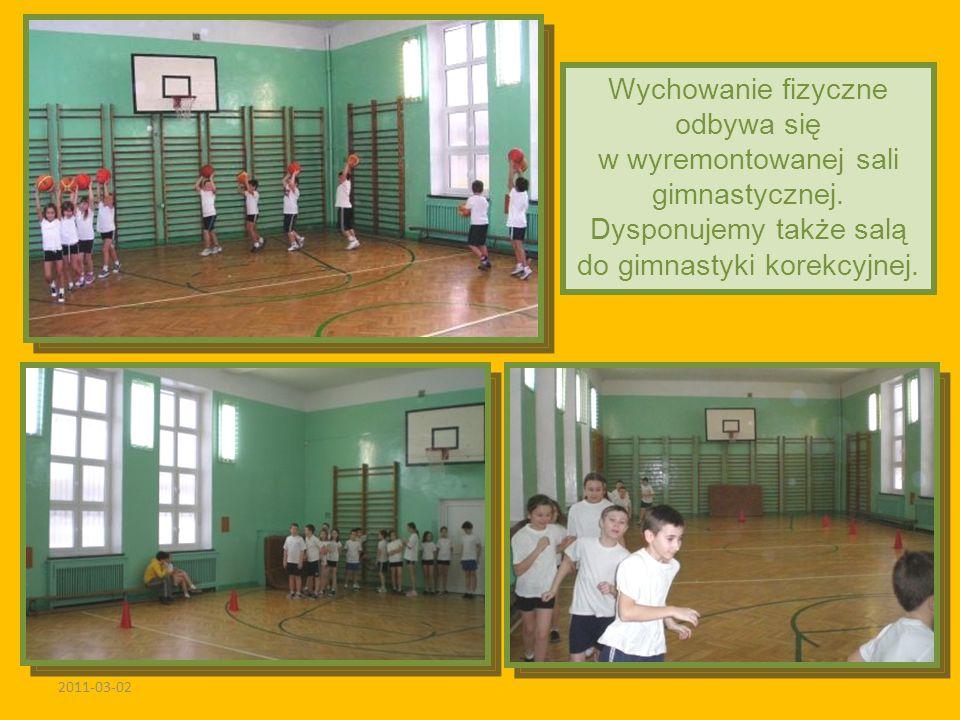 2011-03-02 Wychowanie fizyczne odbywa się w wyremontowanej sali gimnastycznej. Dysponujemy także salą do gimnastyki korekcyjnej.