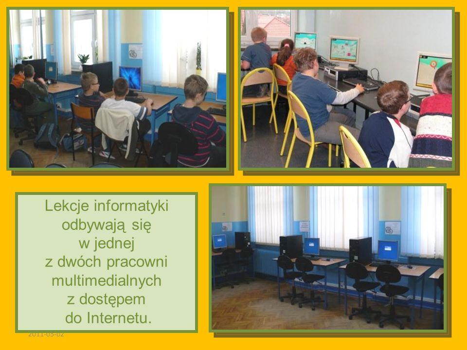 2011-03-02 Lekcje informatyki odbywają się w jednej z dwóch pracowni multimedialnych z dostępem do Internetu.