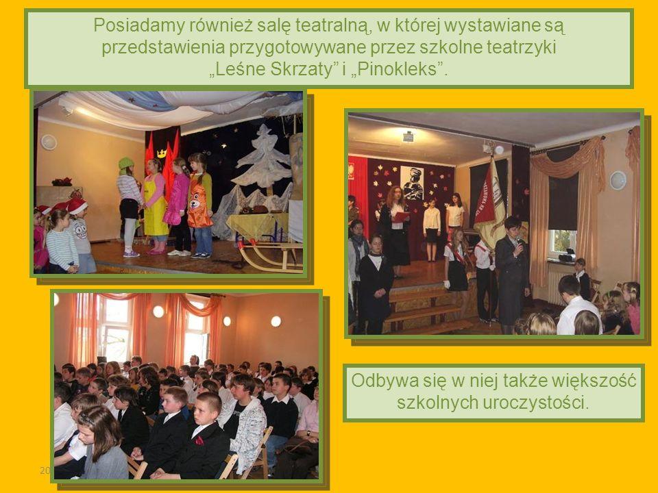 2011-03-02 Posiadamy również salę teatralną, w której wystawiane są przedstawienia przygotowywane przez szkolne teatrzyki Leśne Skrzaty i Pinokleks. O