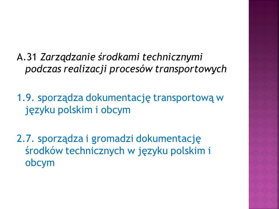 A.31 Zarządzanie środkami technicznymi podczas realizacji procesów transportowych 1.9.