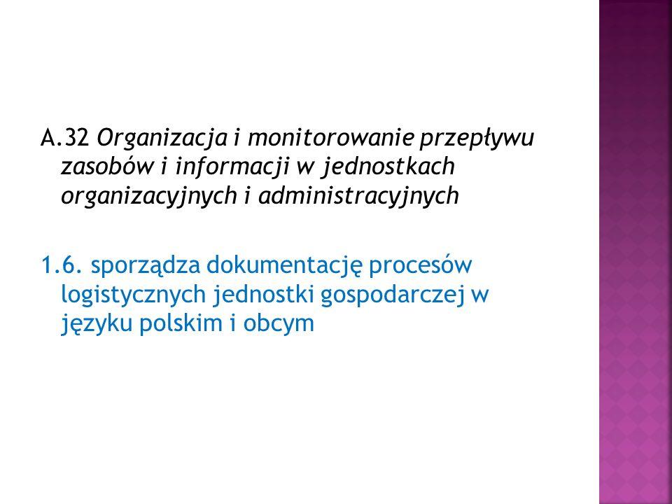A.32 Organizacja i monitorowanie przepływu zasobów i informacji w jednostkach organizacyjnych i administracyjnych 1.6.