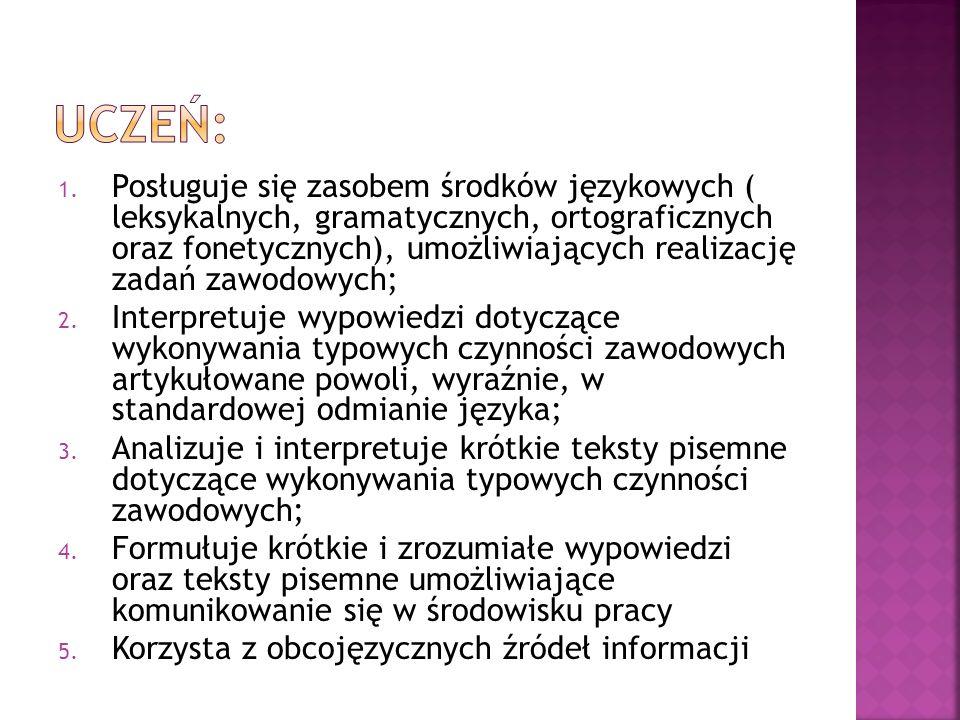 1. Posługuje się zasobem środków językowych ( leksykalnych, gramatycznych, ortograficznych oraz fonetycznych), umożliwiających realizację zadań zawodo
