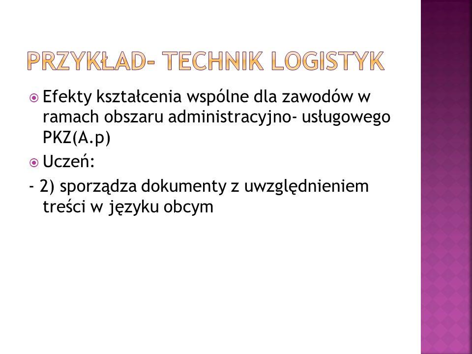 Efekty kształcenia wspólne dla zawodów w ramach obszaru administracyjno- usługowego PKZ(A.p) Uczeń: - 2) sporządza dokumenty z uwzględnieniem treści w języku obcym