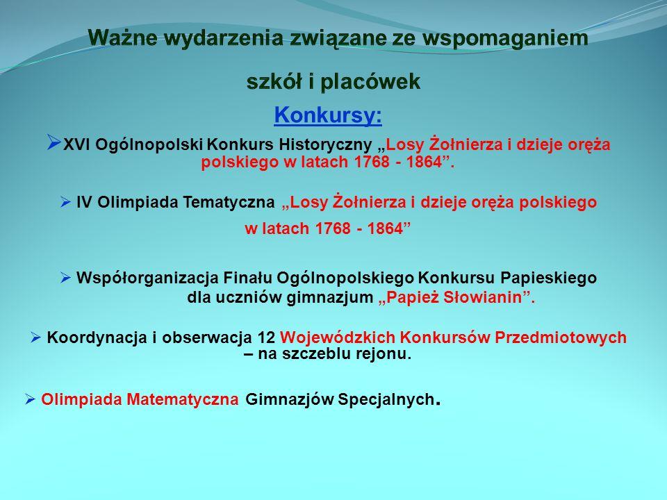 Konkursy: XVI Ogólnopolski Konkurs Historyczny Losy Żołnierza i dzieje oręża polskiego w latach 1768 - 1864. IV Olimpiada Tematyczna Losy Żołnierza i