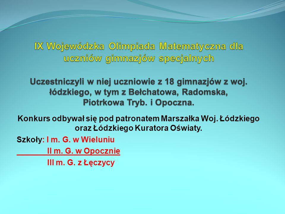 Konkurs odbywał się pod patronatem Marszałka Woj. Łódzkiego oraz Łódzkiego Kuratora Oświaty. Szkoły: I m. G. w Wieluniu II m. G. w Opocznie III m. G.