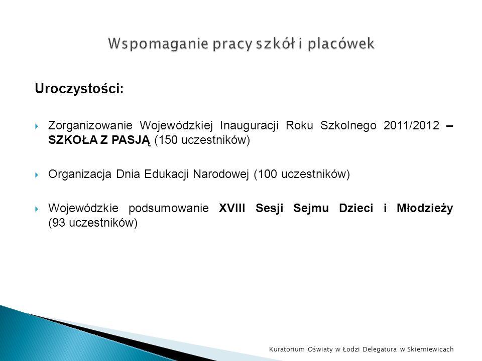 Uroczystości: Zorganizowanie Wojewódzkiej Inauguracji Roku Szkolnego 2011/2012 – SZKOŁA Z PASJĄ (150 uczestników) Organizacja Dnia Edukacji Narodowej