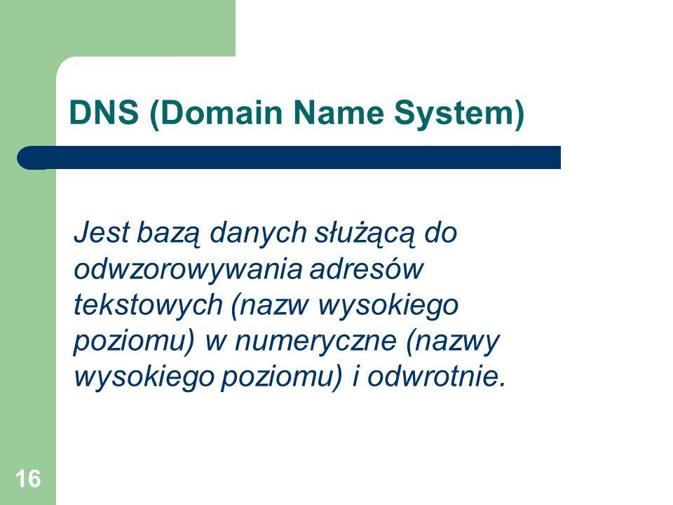 16 DNS (Domain Name System) Jest bazą danych służącą do odwzorowywania adresów tekstowych (nazw wysokiego poziomu) w numeryczne (nazwy wysokiego pozio