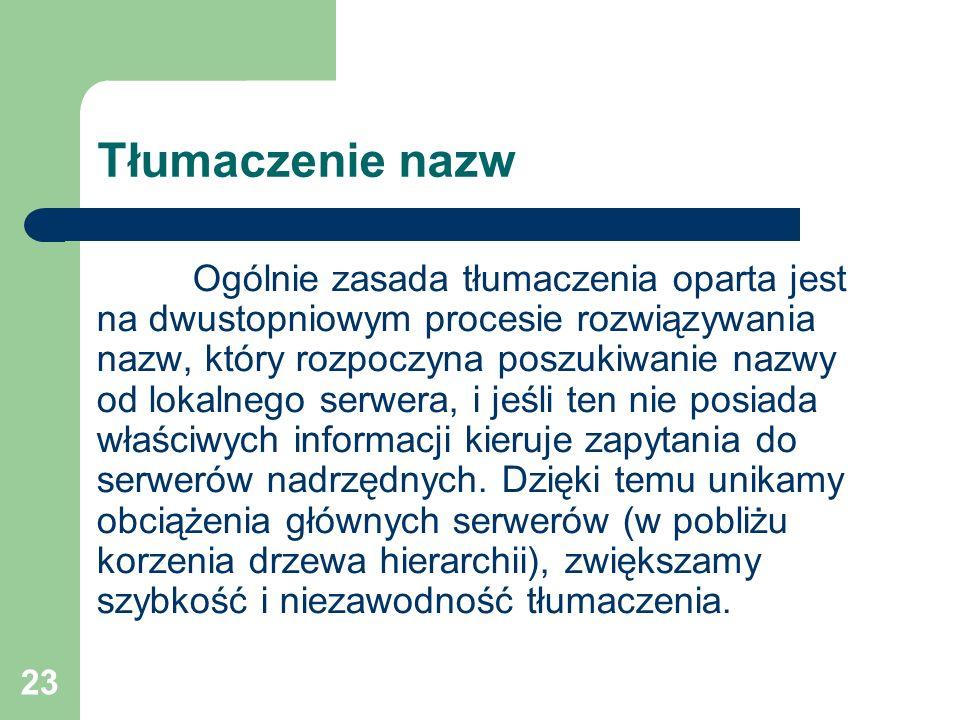 23 Tłumaczenie nazw Ogólnie zasada tłumaczenia oparta jest na dwustopniowym procesie rozwiązywania nazw, który rozpoczyna poszukiwanie nazwy od lokaln