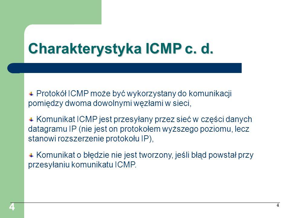 4 4 Charakterystyka ICMP c. d. Protokół ICMP może być wykorzystany do komunikacji pomiędzy dwoma dowolnymi węzłami w sieci, Komunikat ICMP jest przesy