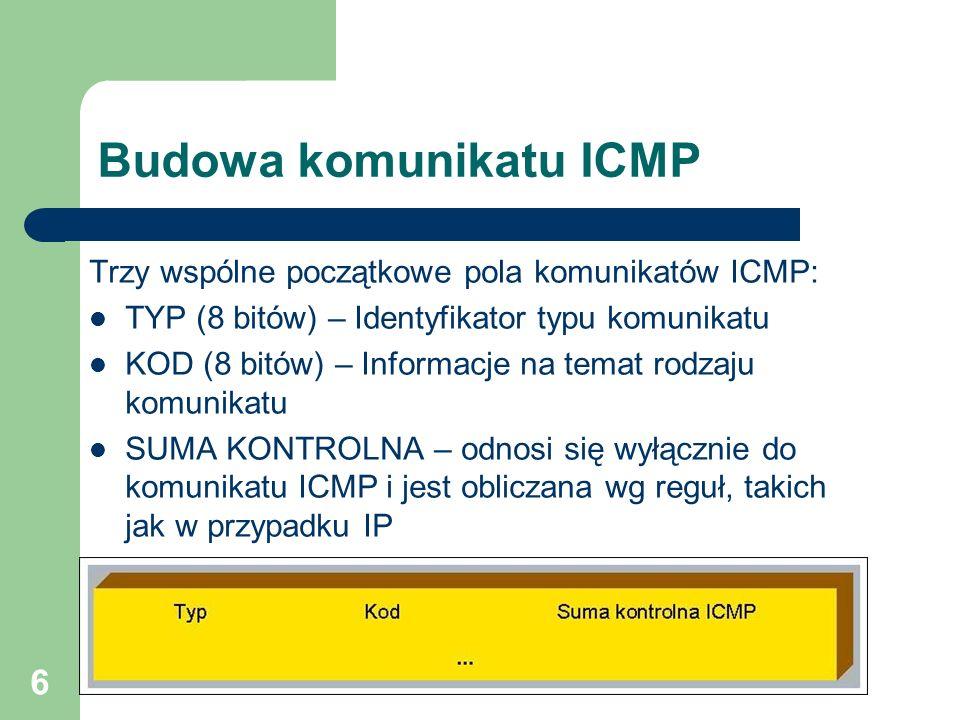 6 Budowa komunikatu ICMP Trzy wspólne początkowe pola komunikatów ICMP: TYP (8 bitów) – Identyfikator typu komunikatu KOD (8 bitów) – Informacje na te