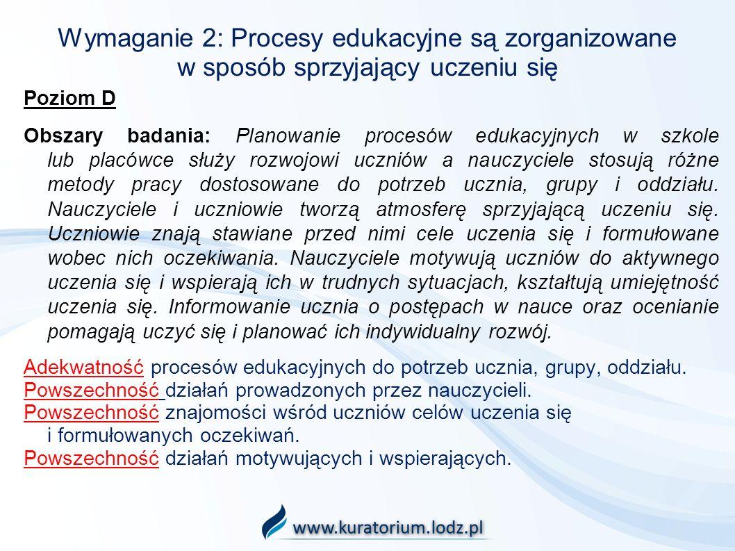 Wymaganie 2: Procesy edukacyjne są zorganizowane w sposób sprzyjający uczeniu się Poziom D Obszary badania: Planowanie procesów edukacyjnych w szkole