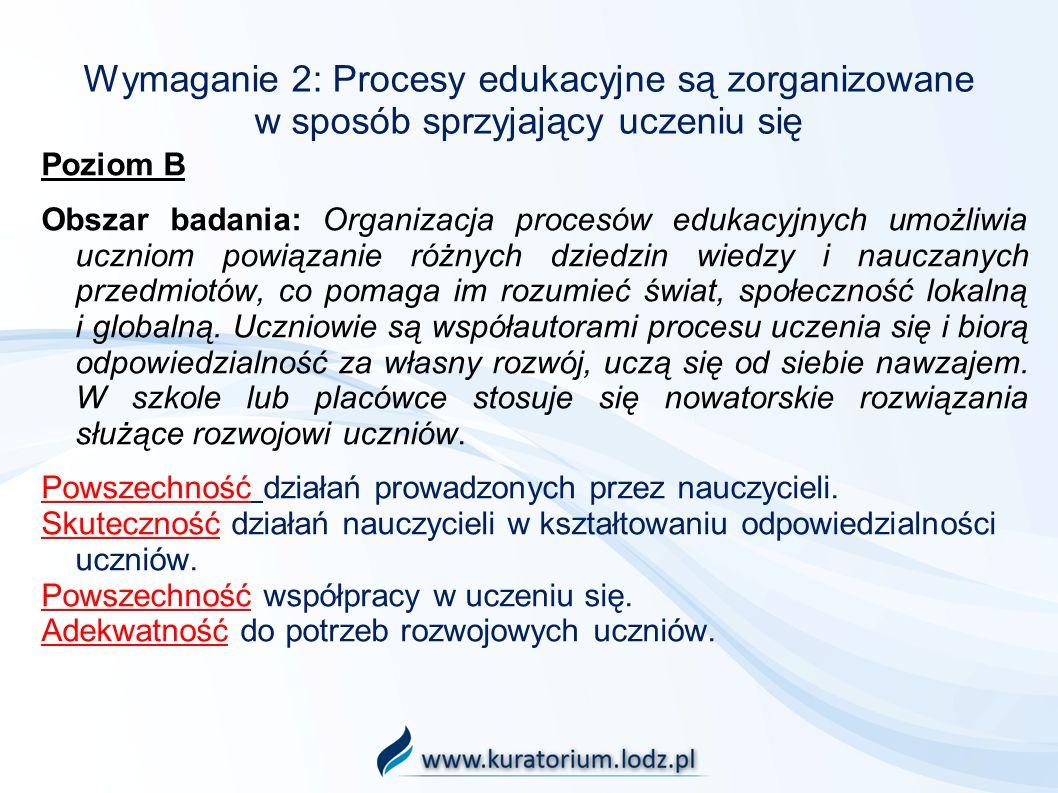 Wymaganie 2: Procesy edukacyjne są zorganizowane w sposób sprzyjający uczeniu się Poziom B Obszar badania: Organizacja procesów edukacyjnych umożliwia