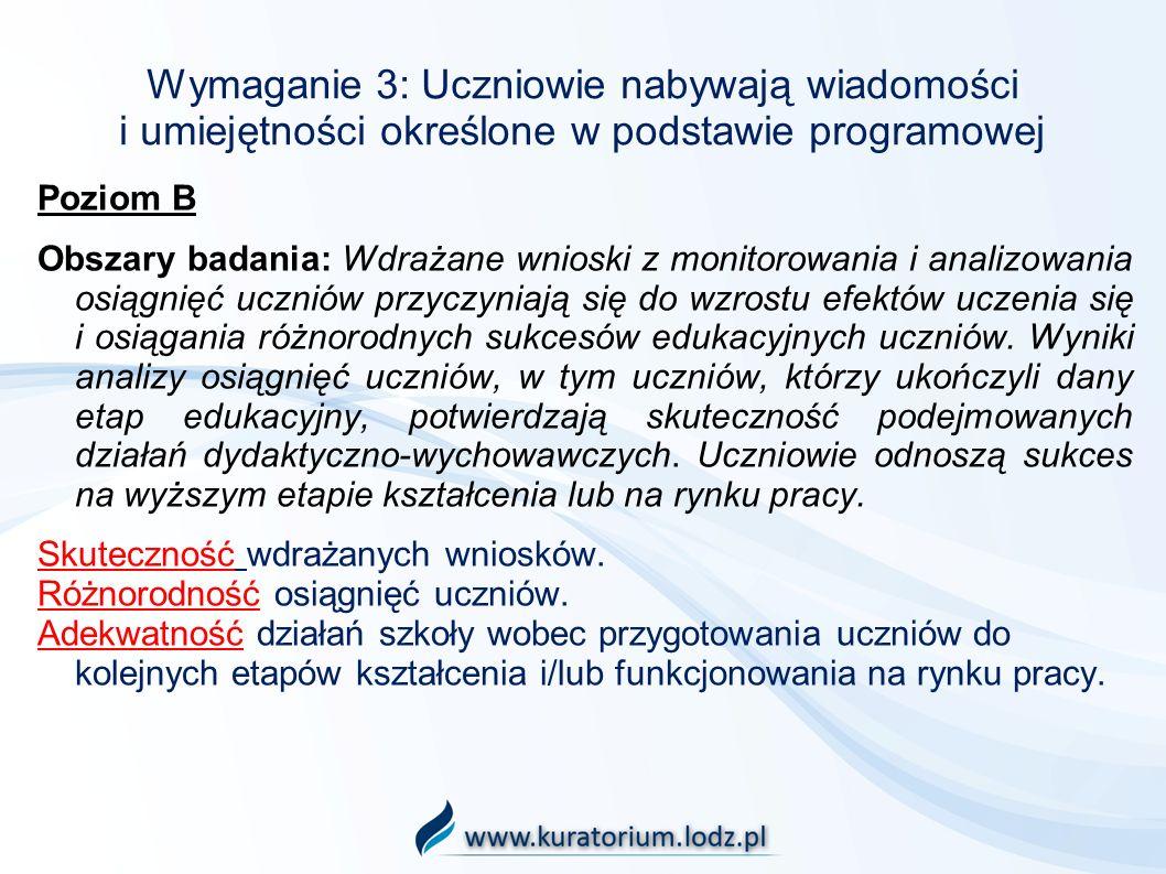 Wymaganie 3: Uczniowie nabywają wiadomości i umiejętności określone w podstawie programowej Poziom B Obszary badania: Wdrażane wnioski z monitorowania