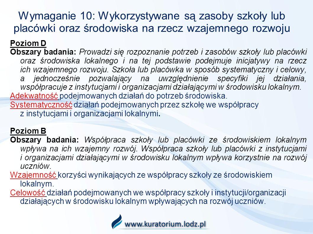 Wymaganie 10: Wykorzystywane są zasoby szkoły lub placówki oraz środowiska na rzecz wzajemnego rozwoju Poziom D Obszary badania: Prowadzi się rozpozna