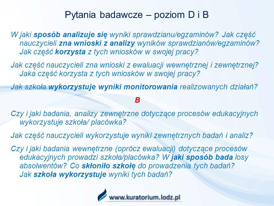 Pytania badawcze – poziom D i B W jaki sposób analizuje się wyniki sprawdzianu/egzaminów? Jak część nauczycieli zna wnioski z analizy wyników sprawdzi