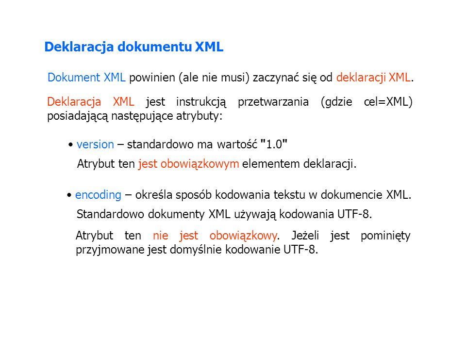 Deklaracja dokumentu XML Dokument XML powinien (ale nie musi) zaczynać się od deklaracji XML. Deklaracja XML jest instrukcją przetwarzania (gdzie cel=