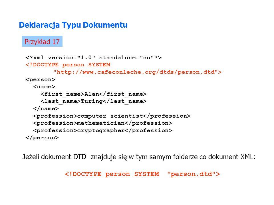Deklaracja Typu Dokumentu Przykład 17 Alan Turing computer scientist mathematician cryptographer Jeżeli dokument DTD znajduje się w tym samym folderze co dokument XML: