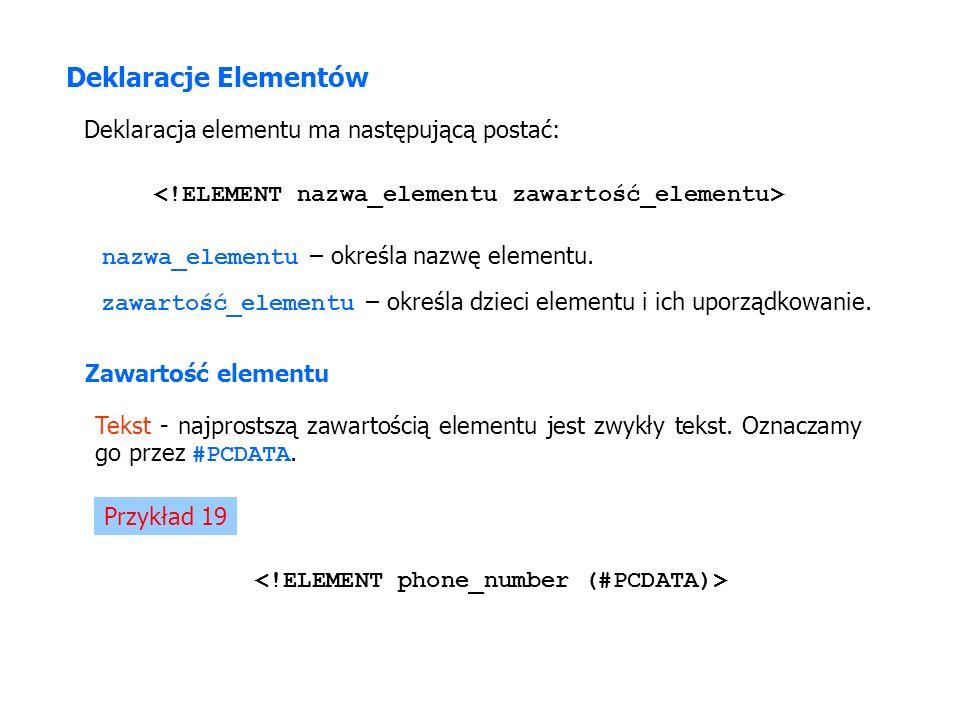 Deklaracje Elementów Deklaracja elementu ma następującą postać: nazwa_elementu – określa nazwę elementu. zawartość_elementu – określa dzieci elementu