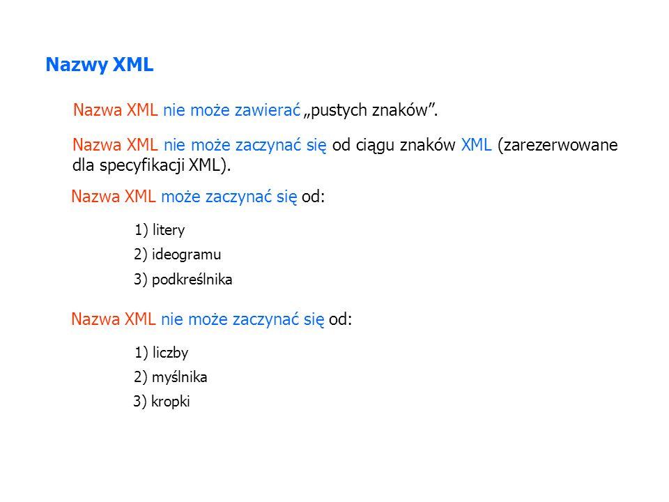 Nazwy XML Nazwa XML nie może zawierać pustych znaków. Nazwa XML nie może zaczynać się od ciągu znaków XML (zarezerwowane dla specyfikacji XML). Nazwa
