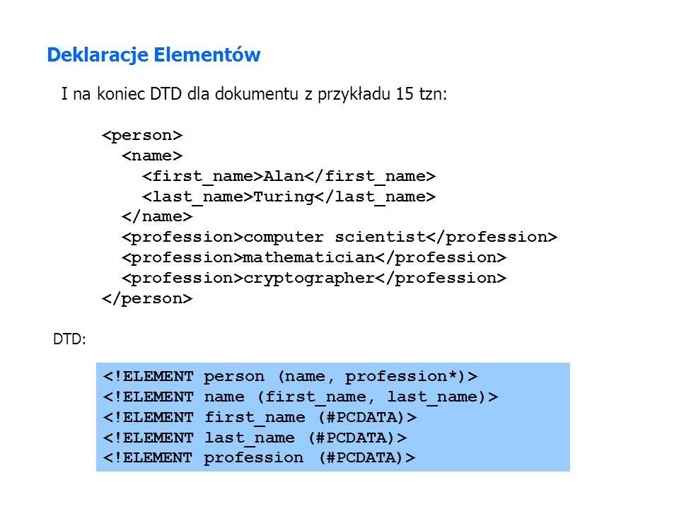 Deklaracje Elementów I na koniec DTD dla dokumentu z przykładu 15 tzn: Alan Turing computer scientist mathematician cryptographer DTD: