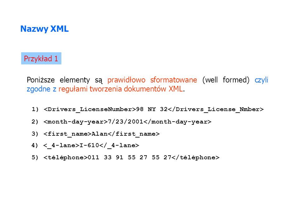 Poniższe elementy są prawidłowo sformatowane (well formed) czyli zgodne z regułami tworzenia dokumentów XML. Nazwy XML 1) 98 NY 32 Przykład 1 2) 7/23/