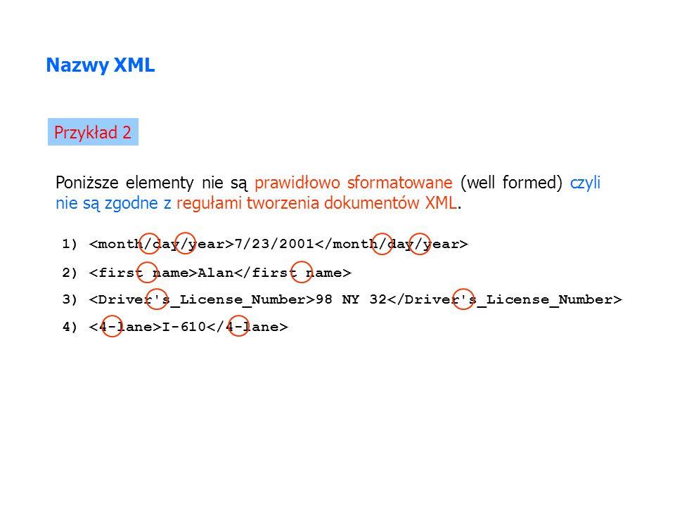 Poniższe elementy nie są prawidłowo sformatowane (well formed) czyli nie są zgodne z regułami tworzenia dokumentów XML. Nazwy XML Przykład 2 3) 98 NY