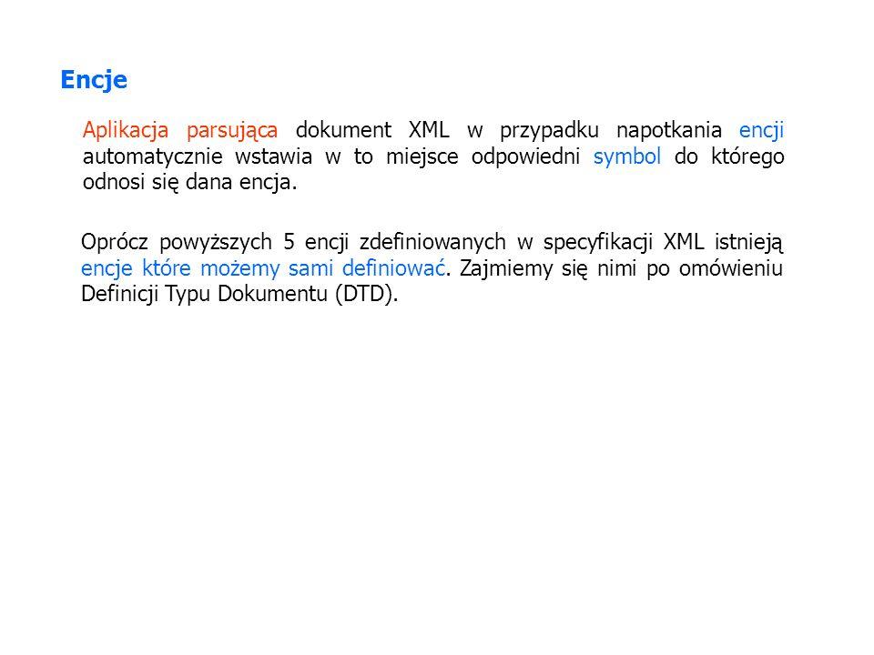 Encje Aplikacja parsująca dokument XML w przypadku napotkania encji automatycznie wstawia w to miejsce odpowiedni symbol do którego odnosi się dana en