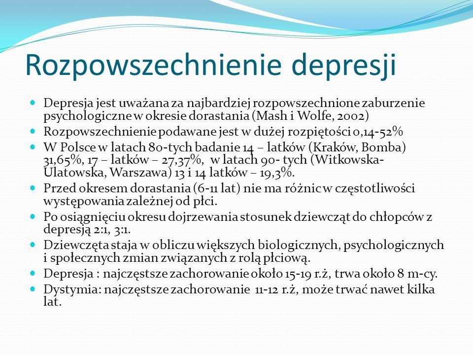Rozpowszechnienie depresji Depresja jest uważana za najbardziej rozpowszechnione zaburzenie psychologiczne w okresie dorastania (Mash i Wolfe, 2002) R