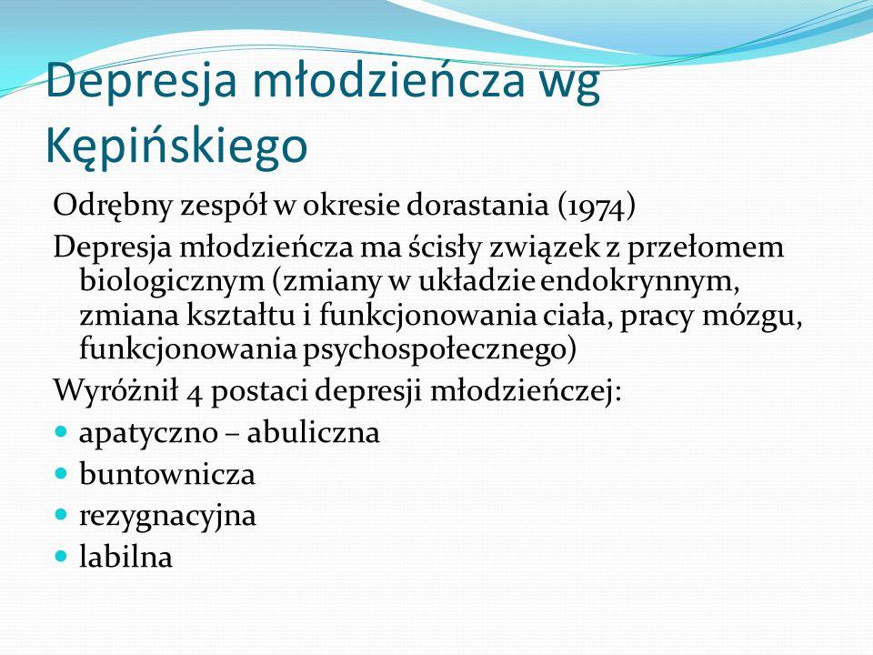Depresja młodzieńcza wg Kępińskiego Odrębny zespół w okresie dorastania (1974) Depresja młodzieńcza ma ścisły związek z przełomem biologicznym (zmiany