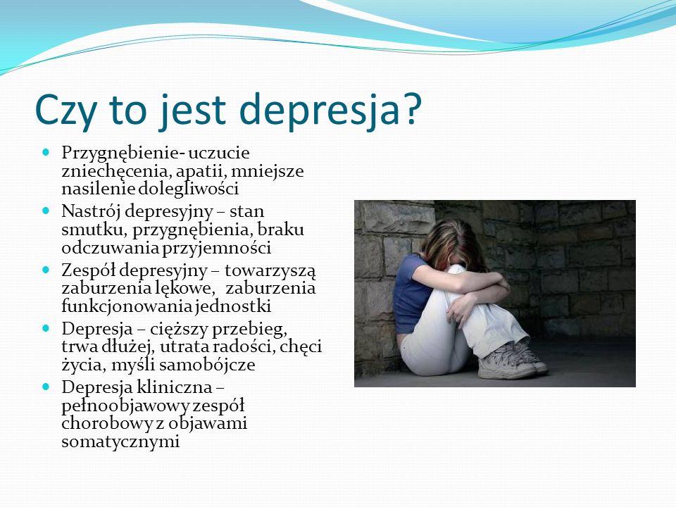Czy to jest depresja? Przygnębienie- uczucie zniechęcenia, apatii, mniejsze nasilenie dolegliwości Nastrój depresyjny – stan smutku, przygnębienia, br