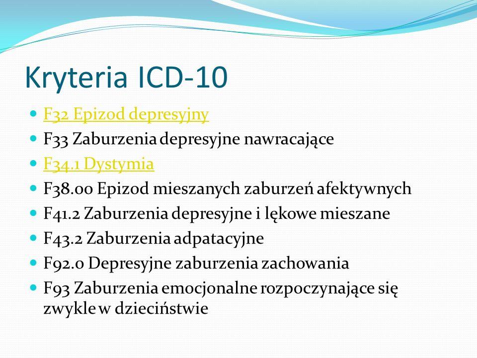 Kryteria ICD-10 F32 Epizod depresyjny F33 Zaburzenia depresyjne nawracające F34.1 Dystymia F38.00 Epizod mieszanych zaburzeń afektywnych F41.2 Zaburze