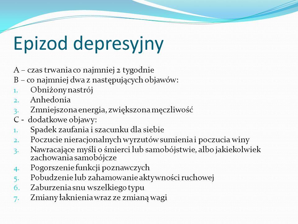 Epizod depresyjny A – czas trwania co najmniej 2 tygodnie B – co najmniej dwa z następujących objawów: 1. Obniżony nastrój 2. Anhedonia 3. Zmniejszona
